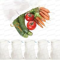 Sacs réutilisable tissu bio fruits et légumes lot de 5