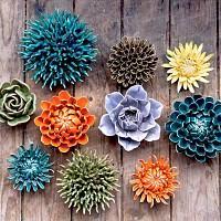 Fleur corail décorative en céramique