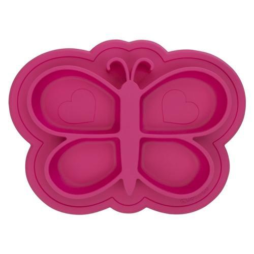 Assiette en Silicone modèle Papillon Rose