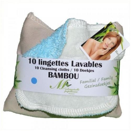 Lot de 10 lingettes lavables familiales Bambou (Bleu)