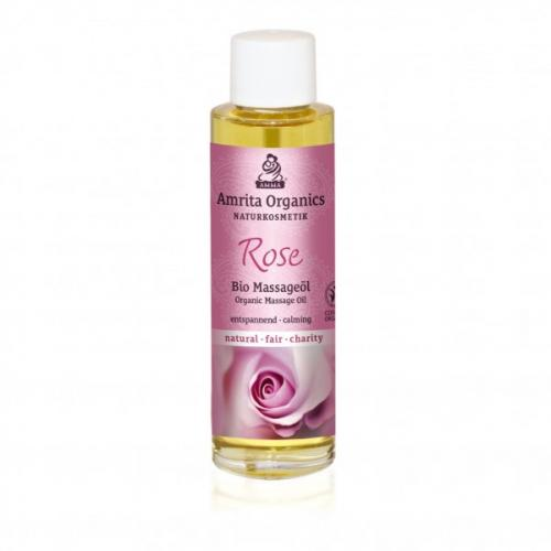 Huile de massage bio à la rose
