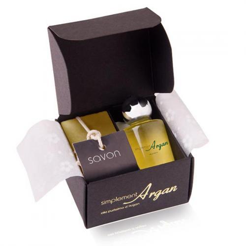 COFFRET Savon invité ARGAN et ORANGE - CANNELLE + Huile d'argan pure de 10ml.