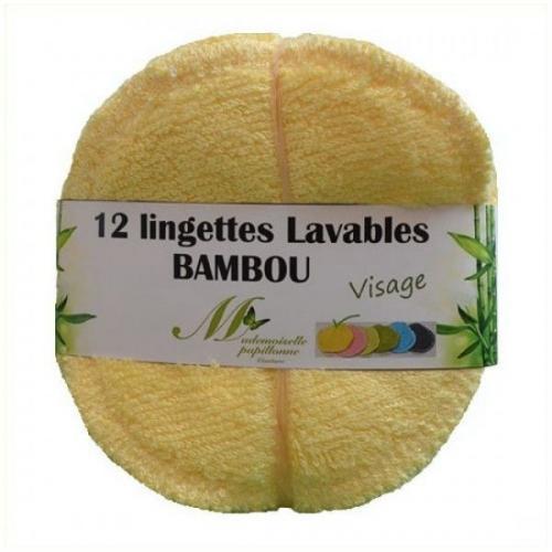 Lot de 12 lingettes Visage Bambou Jaune