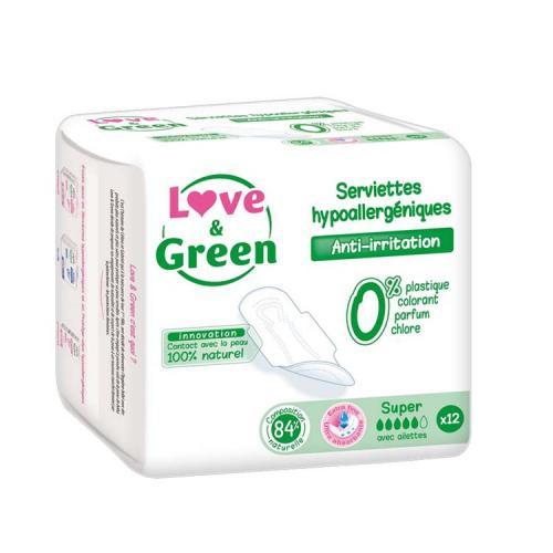 Boîte de 12 serviettes hygiéniques Super et jetables LOVE-GREEN