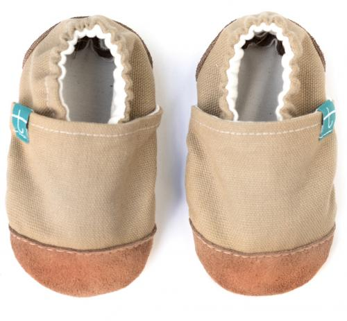 Chaussons souples bébé - collection cuir - Iced Coffee