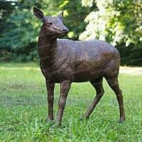 Sculpture Biche en bronze - Statue animaux de jardin H.92cm