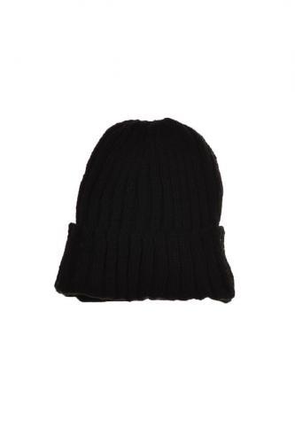 Bonnet large revers laine et polaire douce all black