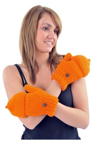 Gants mitaines moufles orange pure laine et polaire douce