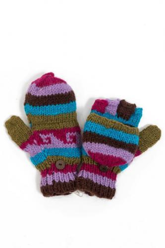 Moufles mitaines rose mauve marron turquoise kaki pure laine et polaire douce