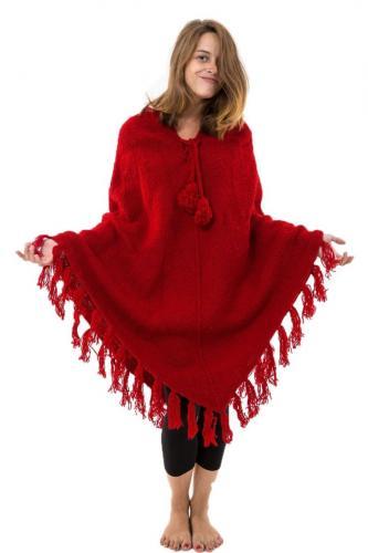 Pancho rouge pure laine douce du Nepal