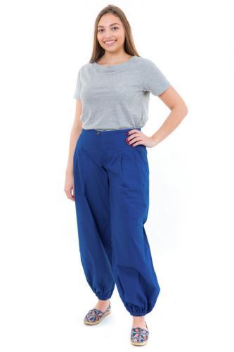 Pantalon large droit bouffant femme bleu