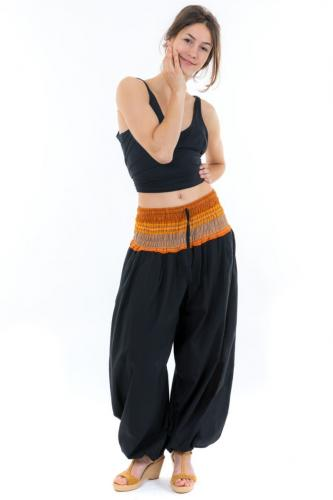 Pantalon sarouel indian chic sari orange