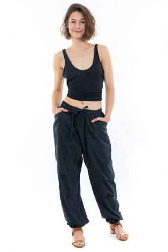 Pantalon sarouel jogging large noir