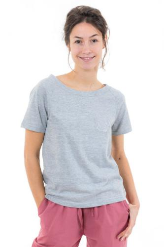 Top tee shirt femme gris broderie fleur