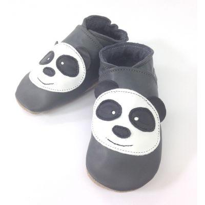 Chaussons cuir souple gris anthracite panda