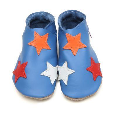 Chaussons cuir souple bleu étoiles orange