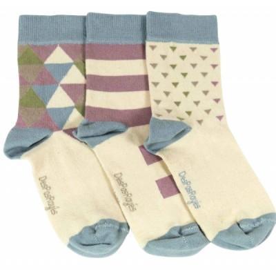 Chaussettes bébé triangles et rayures crême