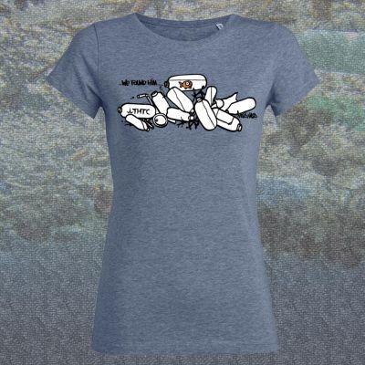 Tee shirt bleu coupe femme coton bio fish