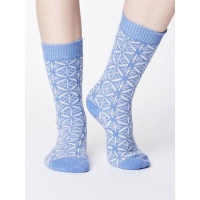 Chaussettes en laine et coton bio bleues