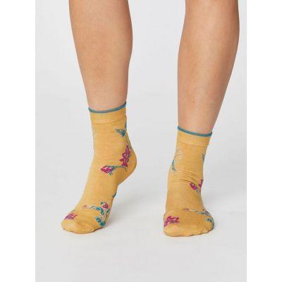 Chaussettes été modal jaune mimosa avec motif colibri