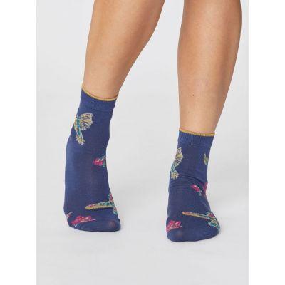Chaussettes été modal bleues avec motif colibri
