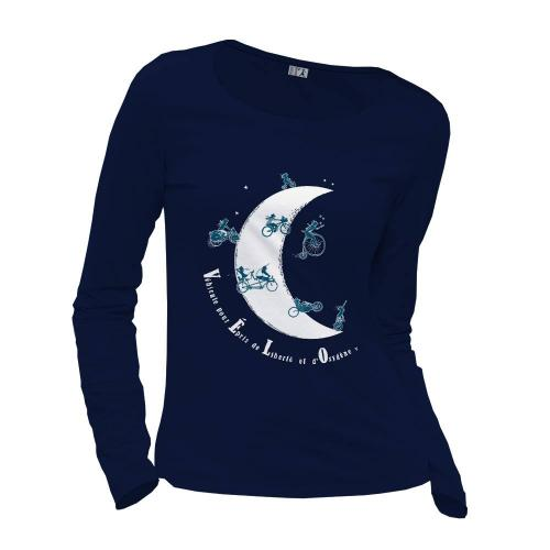 "T-shirt coton bio éthique NALIYA ""Vélo Lune"""