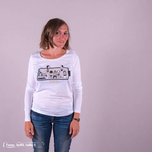 """T-shirt coton bio éthique NALIYA """"No battery"""""""