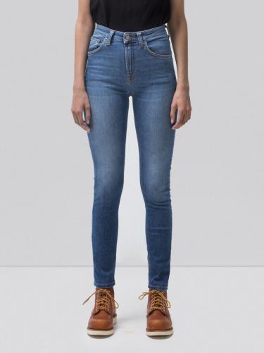 Jean skinny taille haute bleu délavé en coton bio - hightop tilde blue stellar - Nudie Jeans