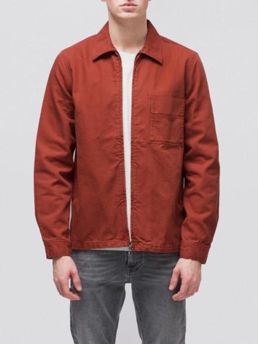 Veste zipée rouge en coton bio - sten zip - Nudie Jeans