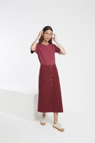 Jupe longue rouge bordeaux coton bio