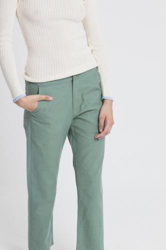 Pantalon droit vert en coton bio - dafne - Thinking Mu