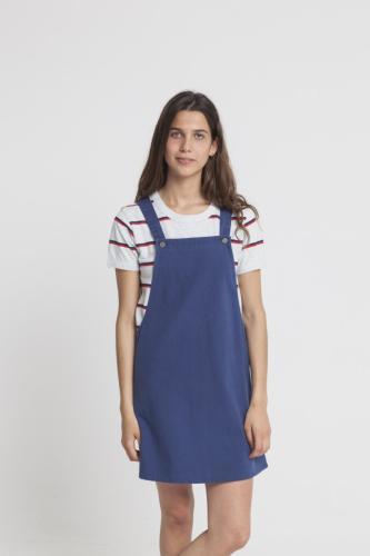 Robe unie bleue en coton bio - amelie