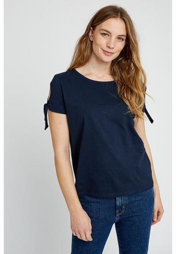 T-shirt manches avec n?uds bleu marine en coton bio - emery - People Tree