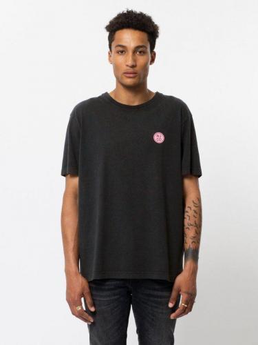 T-shirt noir logo rose en coton bio - uno njco circle