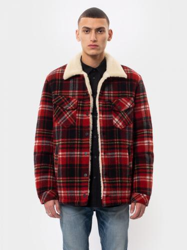 Veste sherpa carreaux rouge en laine recyclée - lenny - Nudie Jeans