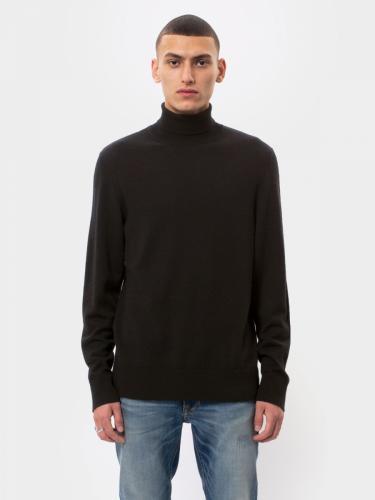 Pull col roulé noir en coton bio - cornelis - Nudie Jeans