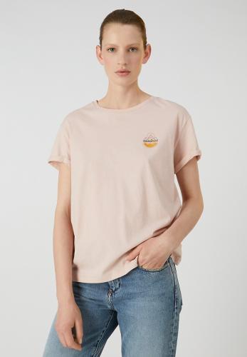 T-shirt rose pâle en coton bio - naalin girl scout - Armedangels