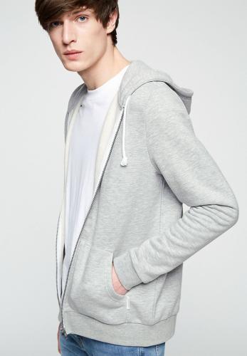 Veste zippée grise en coton bio et polyester recyclé - joaa - Armedangels