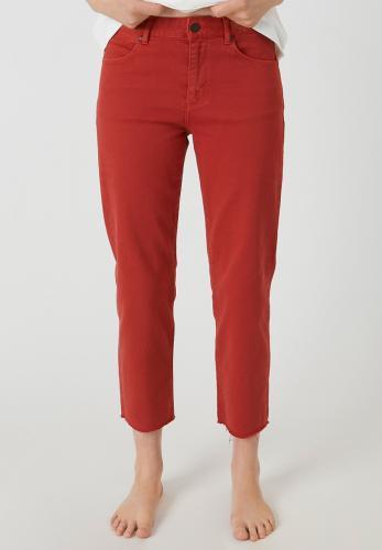 Jean coupe droite rouge en coton bio - fjellaa - Armedangels
