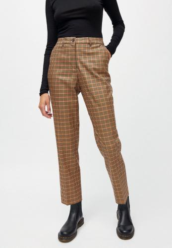 Pantalon à pinces carreaux marron en tencel - herttaa check