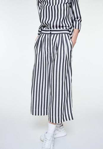 Pantalon rayé noir en tencel - jonnaa big stripes