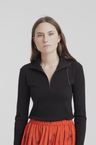 T-shirt col haut zippé noir en tencel mélangé - racer - Thinking Mu