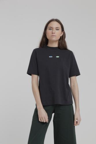 T-shirt noir brodé en coton bio - wolf eyes - Thinking Mu