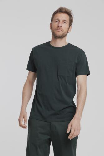 T-shirt uni vert forêt avec poche en coton bio - Thinking Mu