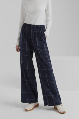 Pantalon large carreaux bleu en coton bio - mamita - Thinking Mu