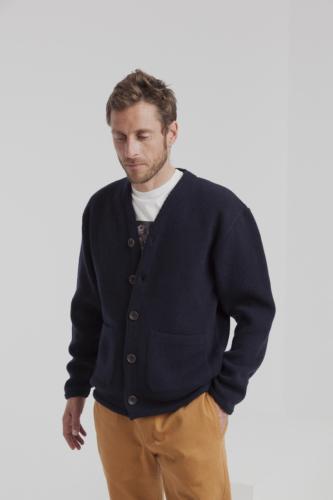 Cardigan bleu marine en laine fine