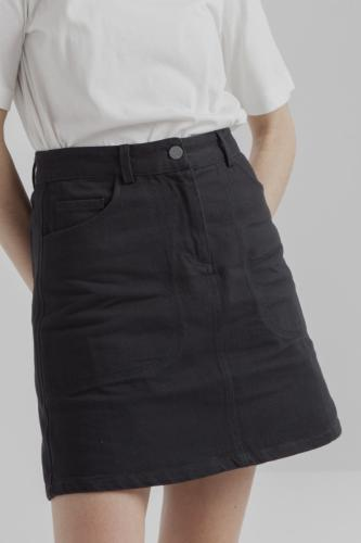 Jupe twill noire en coton bio - marsha - Thinking Mu