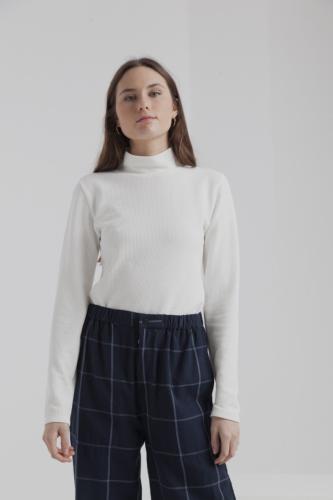 T-shirt manches longues col roulé blanc en coton bio - ellen rib - Thinking Mu