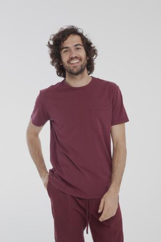 T-shirt uni bordeaux avec poche en coton bio