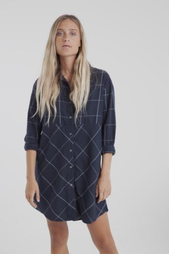 Robe chemise carreaux marine en coton bio - amanda